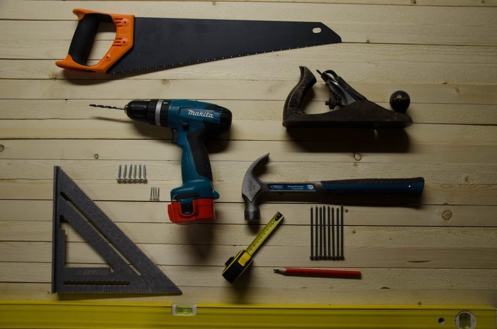 drill, saw, screw driver, hammer for hire