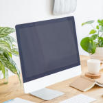 computer and plants on a desk