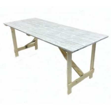 Distressed Limewash style 6'x 3′ Trestle Table-slide-1