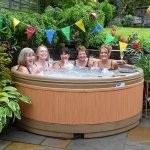 Solid fiberglass Hot tub hire with moulded seats:  Isla