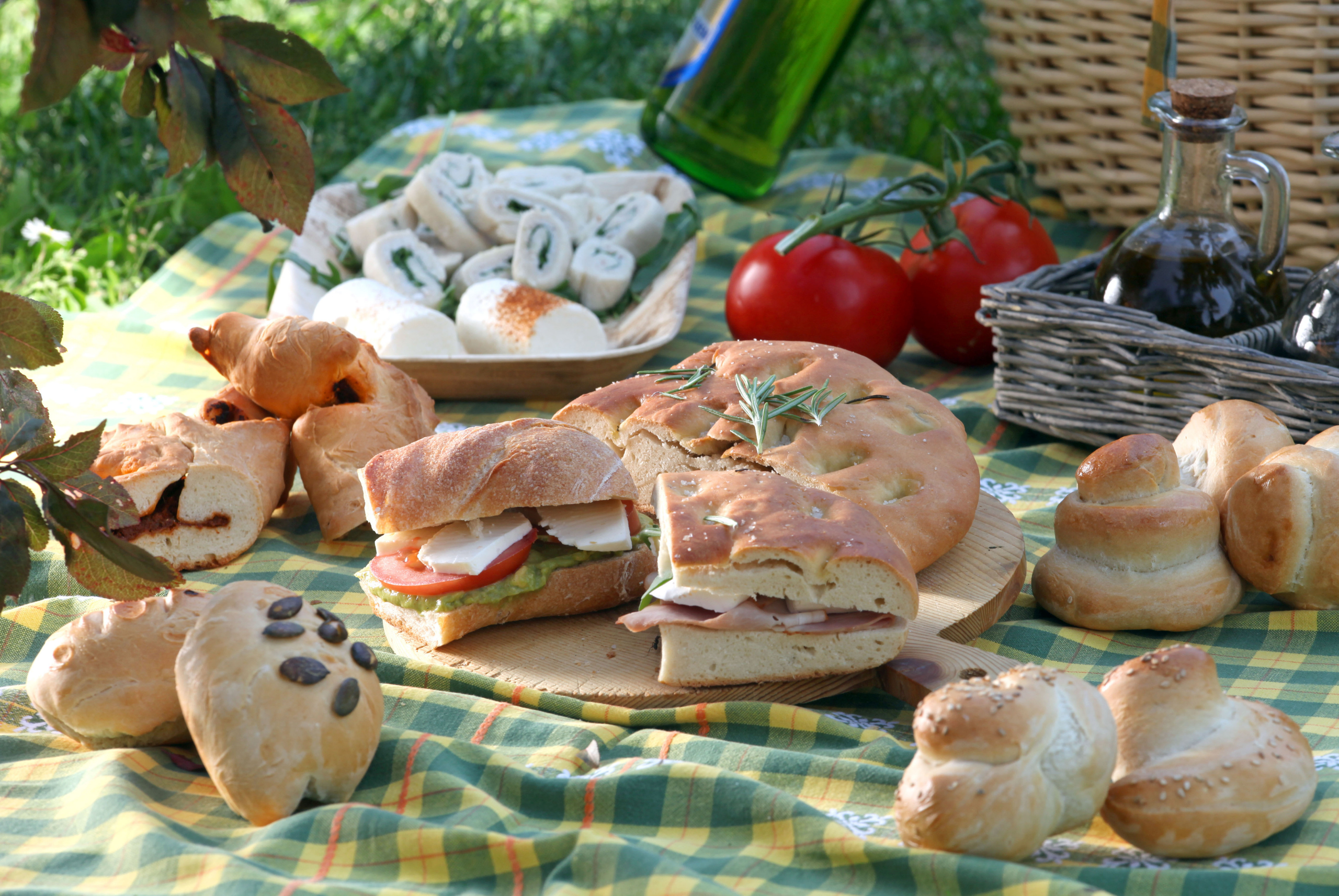 Picnic food on the grass at the park