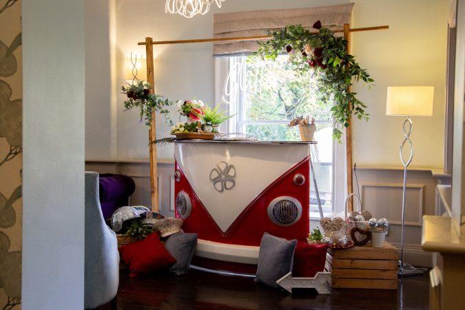 Barnaby Camper Pop-up Indoor campervan glitter mobile bar hire London-slide-1